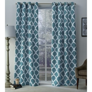ATI Home Durango Printed Geometric Sateen Woven Room Darkening Grommet Top Window Curtain Panel Pair