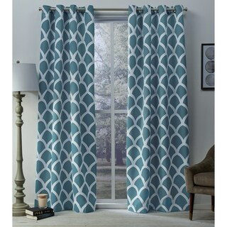 ATI Home Durango Geometric Sateen Woven Room Darkening Grommet Top Window Curtain Panel Pair