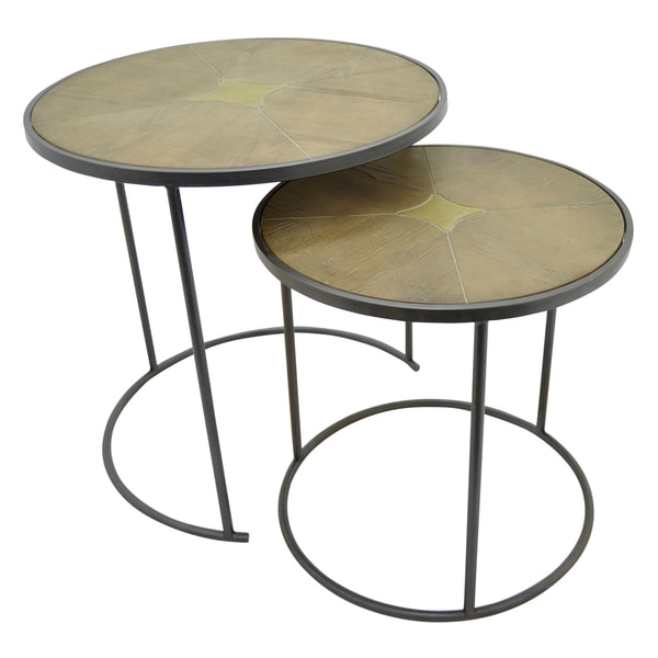Three Hands Wood Top End Tables (Set of 2)