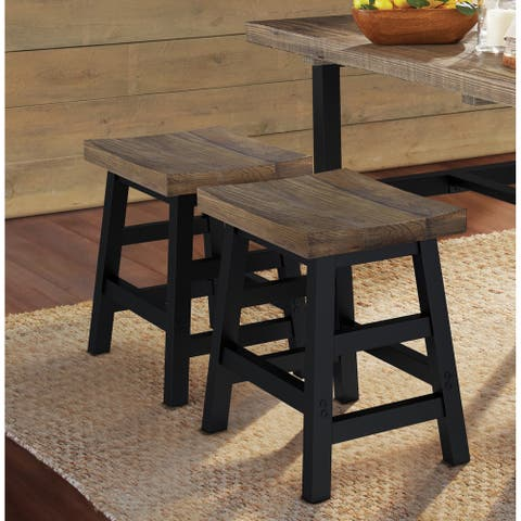 Carbon Loft Lawrence Reclaimed Wood Dining Stool with Metal Legs