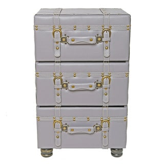 River of Goods Faux Leather 26.25-inch-high 3-drawer Trunk Cabinet