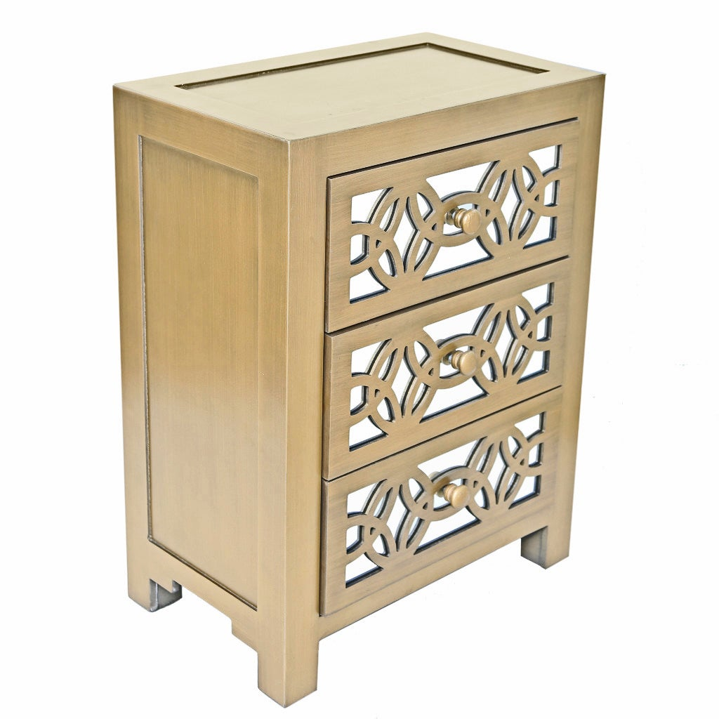 Superbe River Of Goods Mirrored 3 Drawer Cabinet