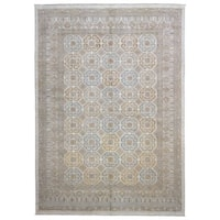 FineRugCollection Handmade Peshawar Tan/Grey Wool Large Very Fine Oriental Rug - 9'6 x 13'6