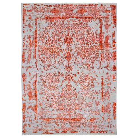 FineRugCollection Handmade Very Fine Modern Design Kashan Orange Oriental Rug
