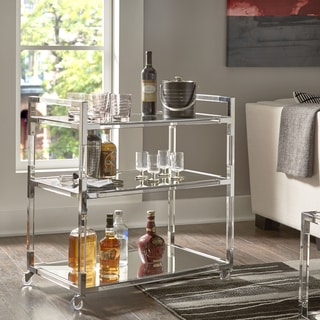 Cyrus Clear Chrome Corner Mirrored Shelf Kitchen Cart by iNSPIRE Q Bold