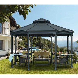 Sunjoy Lola Octagonal Hard-top Black-top Gazebo