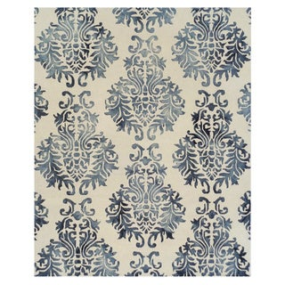 Excell Dip Dye Damask Area Rug Blue (8x10)
