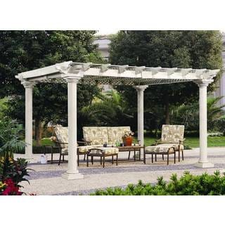 Sunjoy White Aluminum and Steel Trellis-top Pavilion