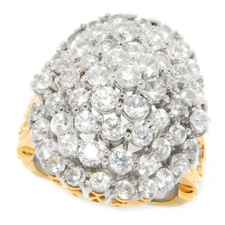 Michael Valitutti Palladium Silver White Zircon Oval Cluster Dome Ring