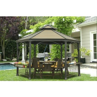 Sedalia Faux Copper Hexagonal Hard-Top Gazebo