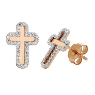 Rose Gold and Diamond 0.22ct Cross Earrings