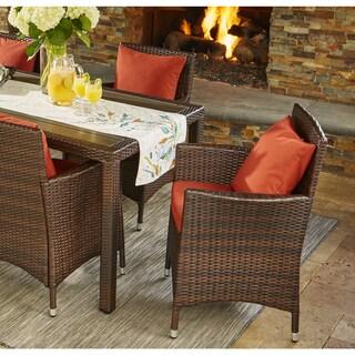 Handy Living Aldrich Indoor/Outdoor 2 Piece Rattan Arm Chairs with Terracotta Sunbrella Cushions