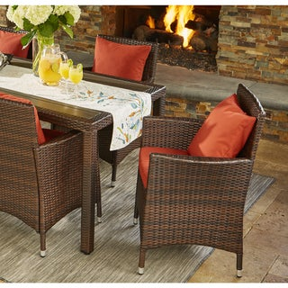 Handy Living Aldrich Indoor/Outdoor 2 Piece Rattan Arm Chairs with Terracotta Sunbrella Cushions