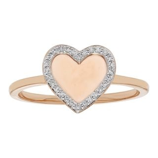 Yellow and Rose Gold .10ct Diamond Mirrored Heart Ring