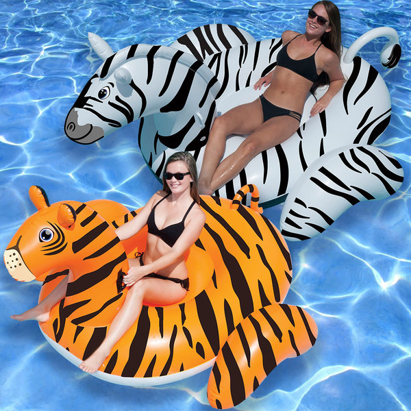 Swimline Giant Zebra and Tiger Combo Pack