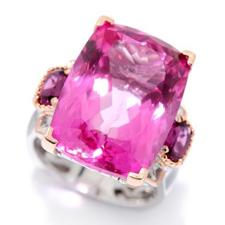 Michael Valitutti Palladium Silver Pink Topaz & Rhodolite Garnet Cocktail Ring