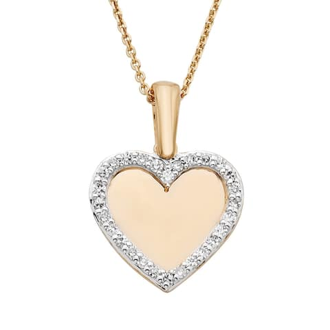 Yellow and Rose Gold .10ct Mirrored Heart Pendant
