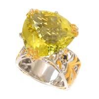 Michael Valitutti Palladium Silver Trillion Shaped Ouro Verde & Sapphire Ring