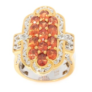 Michael Valitutti Palladium Silver Orange Sapphire & White Topaz Elongated Ring