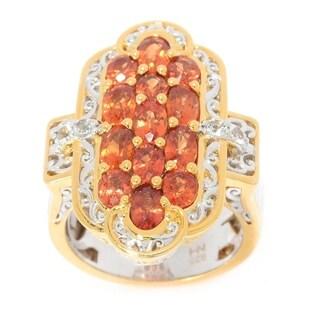 Michael Valitutti Palladium Silver Orange Sapphire & White Topaz Elongated Ring