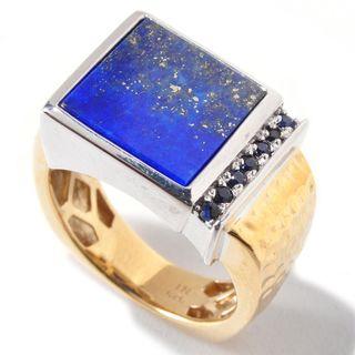 Michael Valitutti Palladium Silver Square Lapis Lazuli & Blue Sapphire Men's Ring