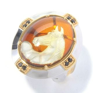 Michael Valitutti Palladium Silver Carved Amber Horse Intaglio & Black Spinel Men's Ring