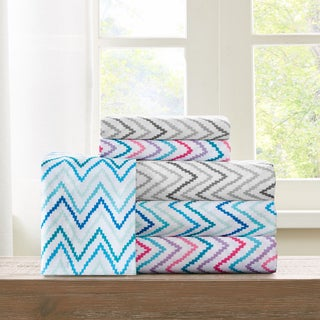 Intelligent Design Multicolor Chevron Pink/ Teal Microfiber Printed Sheet Set 3 Color Option