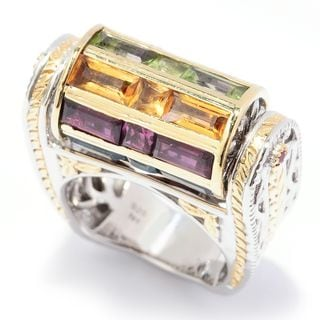 Michael Valitutti Palladium Silver Baguette Cut Multi Gemstone Spin Top Ring