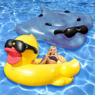 GAME Giant Inflatable Derby Duck and Surfing Stingray 2-Pack