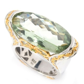 Michael Valitutti Palladium Silver Montezuma Green Amethyst & Chrome Diopside East-West Ring