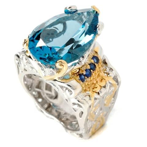 Gems en Vogue Palladium Silver Pear Shaped London Blue Topaz & Blue Sapphire Ring