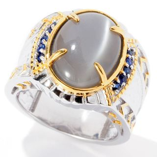 Michael Valitutti Palladium Silver Grey Moonstone & Blue Sapphire Men's Ring