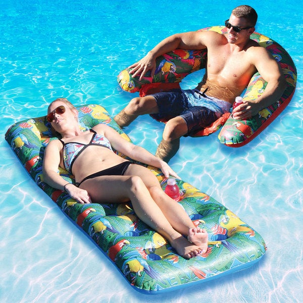 Margaritaville 18 Pocket Parrothead Float and Sit and Sip Combo-Pack for Swimming Pools