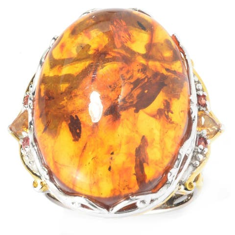 Gems en Vogue Palladium Silver Baltic Amber, Orange Sapphire & Citrine Ring