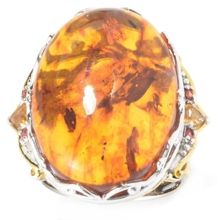 Link to Gems en Vogue Palladium Silver Baltic Amber, Orange Sapphire & Citrine Ring Similar Items in Rings