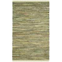 Safavieh Hand-Woven Rag Cotton Rug Light Green / Multicolored Cotton Rug - 3' x 5'