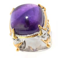 Michael Valitutti Palladium Silver Paris Amethyst Sculpted Angel High-Set Ring