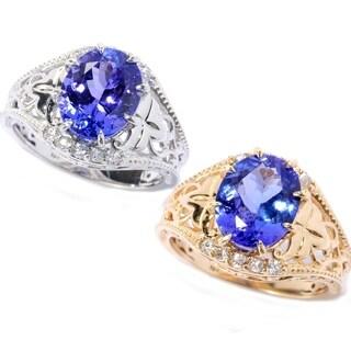 Michael Valitutti 14K Gold 2.46ctw Tanzanite & White Zircon Filigree Ring