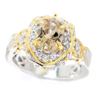 Michael Valitutti Palladium Silver Oval Csarite & White Zircon Halo Ring