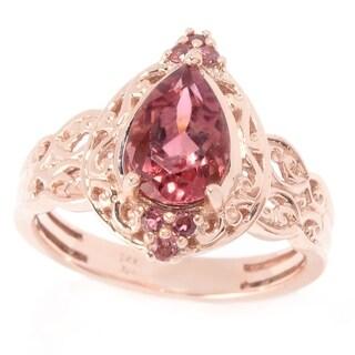 Michael Valitutti 14K Rose Gold Pink Tourmaline Pear Shaped Ring