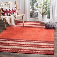 Safavieh Montauk Hand-Woven Red/ Ivory Cotton Area Rug - 8' x 10'