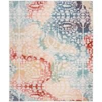 Safavieh Mystique Watercolor Blue/ Rust Silky Rug (8' x 10')