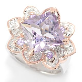 Michael Valitutti Palladium Silver Diamond Shaped Multi Amethyst Flower Ring