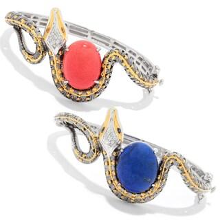 Michael Valitutti Palladium Silver Cleopatra Cabochon & Multi Gem Snake Bangle Bracelet