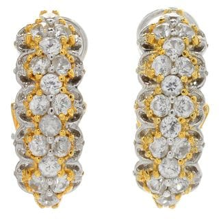 Michael Valitutti Palladium Silver White Zircon J-Hoop Earrings w/ Omega Backs