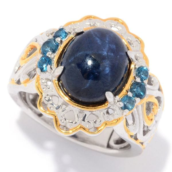 Michael Valitutti Palladium Silver Star Sapphire & London Blue Topaz Ring