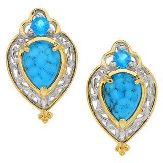 Michael Valitutti Palladium Silver Spiderweb Turquoise & Neon Apatite Stud Earrings