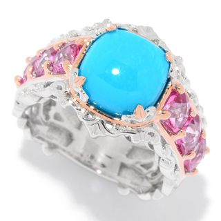 Michael Valitutti Palladium Silver Sleeping Beauty Turquoise & Pink Topaz Scrollwork Ring