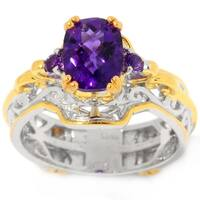 Michael Valitutti Palladium Silver Cushion Checktop African Amethyst Mini Cocktail Ring