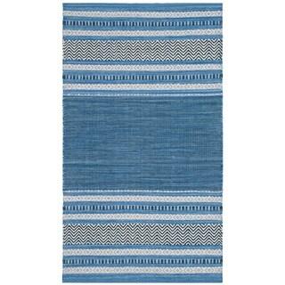 Safavieh Montauk Hand-Woven Blue/ Grey Cotton Accent Area Rug (2' 6 x 4')